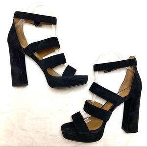 COACH Marina Strappy Black Leather Sandal
